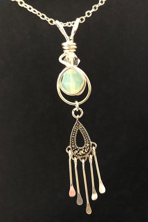 Marcasite Teardrop (Silver) Pendant Necklace