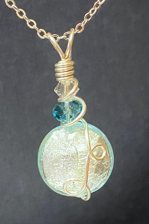 Murano Glass & Swarovski Crystal (Silver) Pendant Necklace