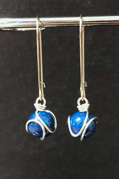 Blue Riverstone (Silver)  Drop Earrings