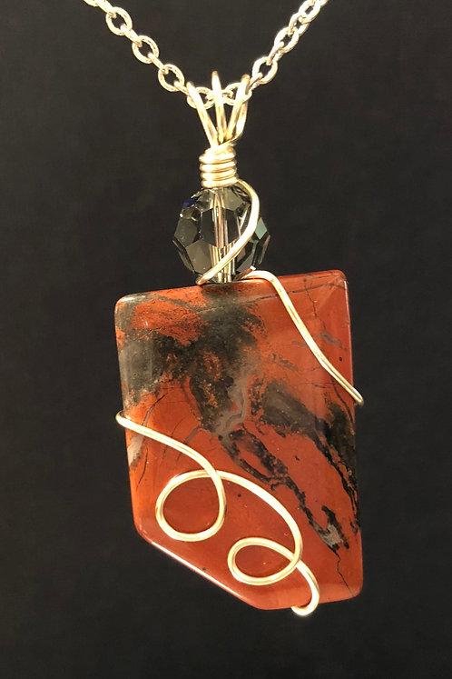 Natural Jasper Stone (Silver ) Pendant