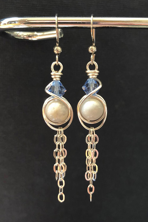 Blue Chalcedony & Swarovski (Silver) Earrings