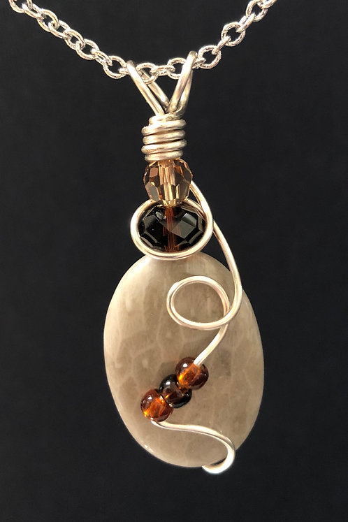 Fossilized Coral (Petoskey Stone) &Swarovski Crystal Pendant Necklace