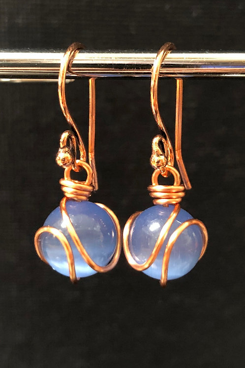 Cool Blue Cat's Eye Glass (Copper) Earrings