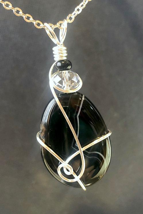 Banded Black Agate & Swarovski (Silver) Pendant Necklace