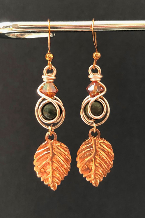Jasper & Swarovski Crystal Leaf (Rose Gold) Earrings