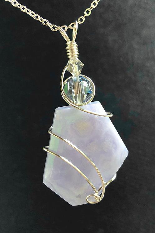 Blue Chalcedony & Swarovski Crystal (Silver) Pendant Necklace