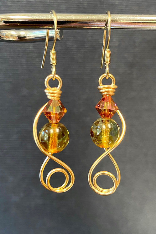 Swarovski Crystal & Czech Glass (Gold) Earrings