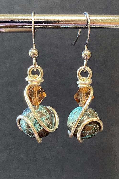 Blue Sky Jasper & Swarovski (Silver) Drop Earrings