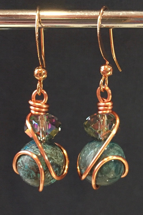 Blue Sky Jasper (Copper) Earrings