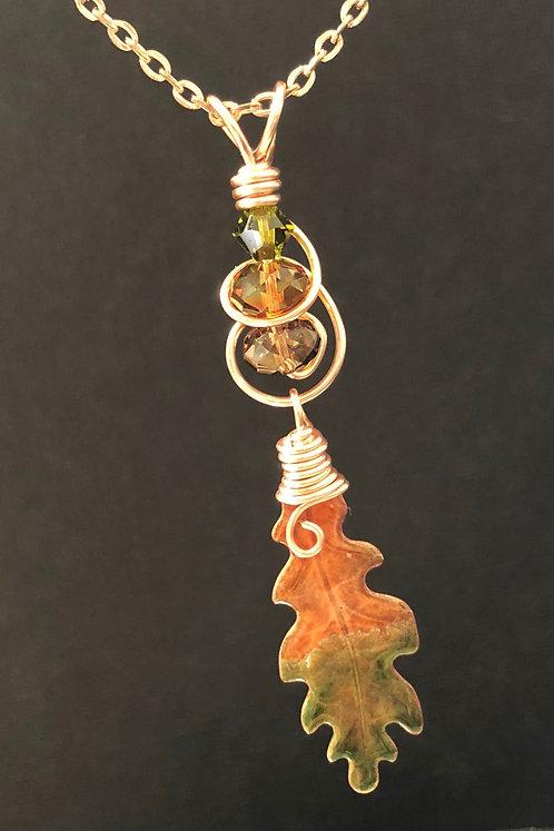 Oak Leaf & Swarovski (Rose Gold) Pendant Necklace