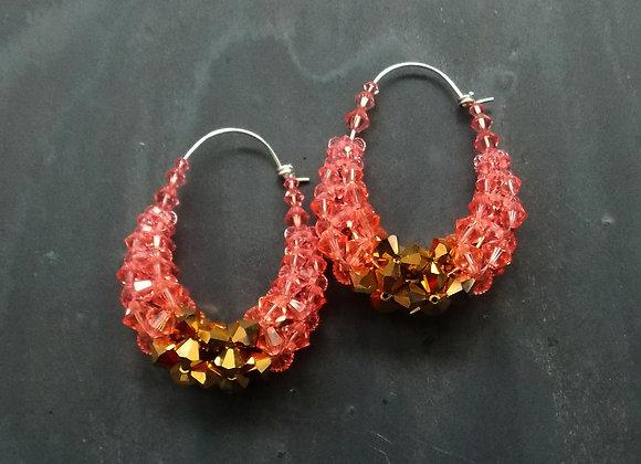 Bling Basket Earrings - Rose and Gold