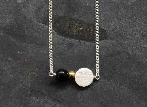 Luna and Satellite Necklace - Black Agate