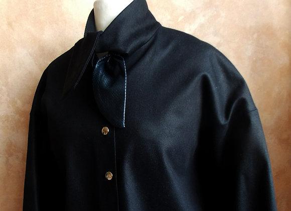 Bow - Coat Dress,  Navy Leather
