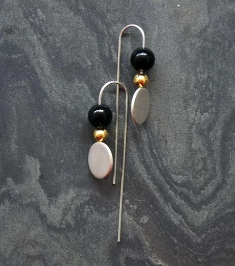 Luna and Satellite Small  Earrings - Bla