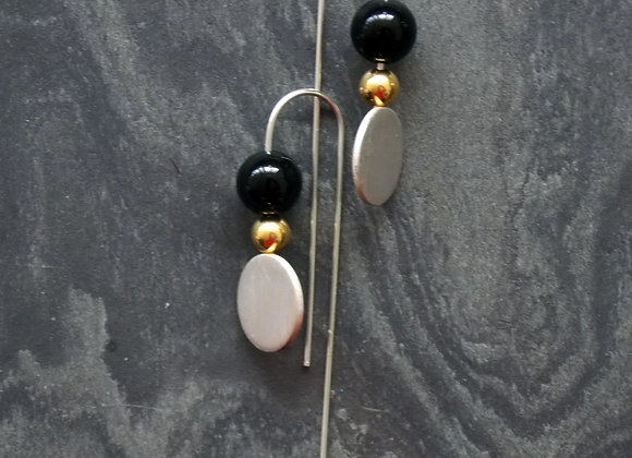 Luna and Satellite Earrings - Onyx and Vermeil
