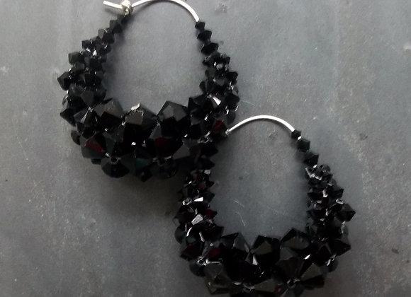 Bling Basket Earrings - Black