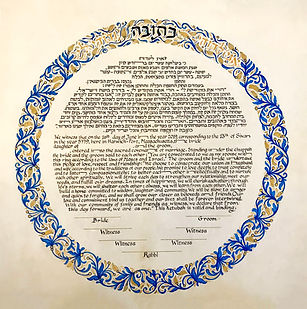כתובה עגולה כחול וזהב