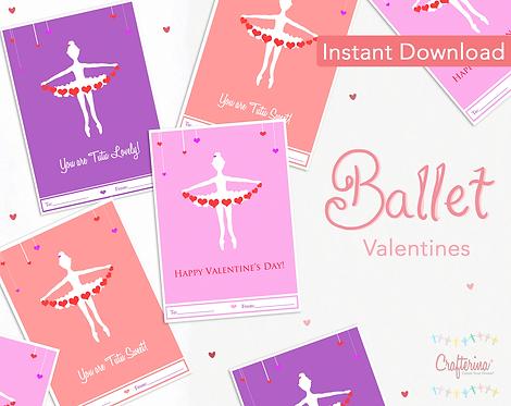 Ballet Printable Valentines PDF