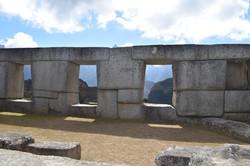 Stone walls of the Temple of the Three Windows, Machu Picchu, Peru