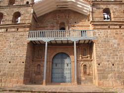 Facade of Tiobamba church in Maras, Cusco