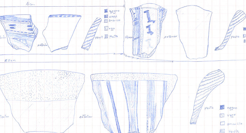 Sketch of pottery fragments from Cusco, Peru