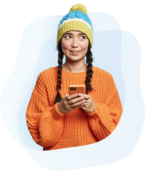 Girl holding her mobile phone looking happily at her mental health score