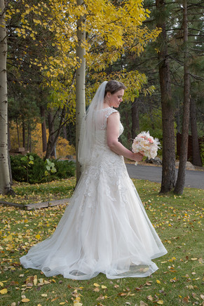 Beautiful bride at lovely Forest Suites Resort in South Lake Tahoe