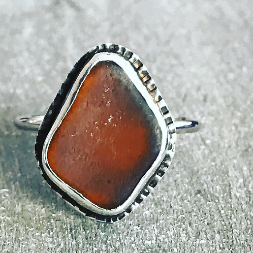 AMBER SEAGLASS RING
