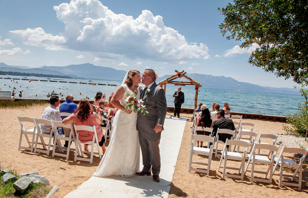 Just married at Lakeside Beach