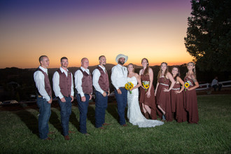 Sunset wedding party in lovely Placerville