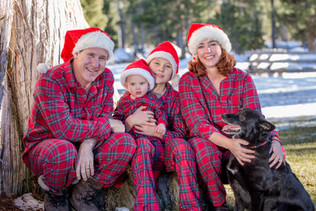 Christmas pajama family portrait
