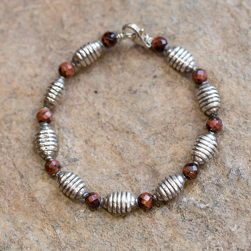 SEMI PRECIOUS AND STERLING BEADED BRACELET