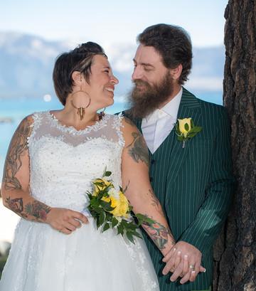 Perfect couple, perfect micro wedding at scenic Lake Tahoe