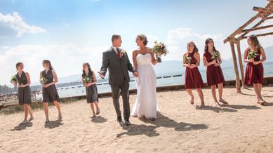 Bride, groom and 6 beautiful daughters at Lakeside Beach, Tahoe