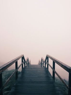 Steps going down into mist