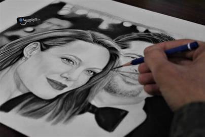 Angelina Jolie Brad Pitt Karakalem Portre Çizimi