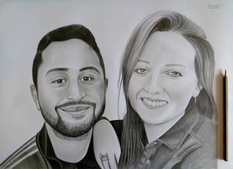çift karakalem portre çizimi