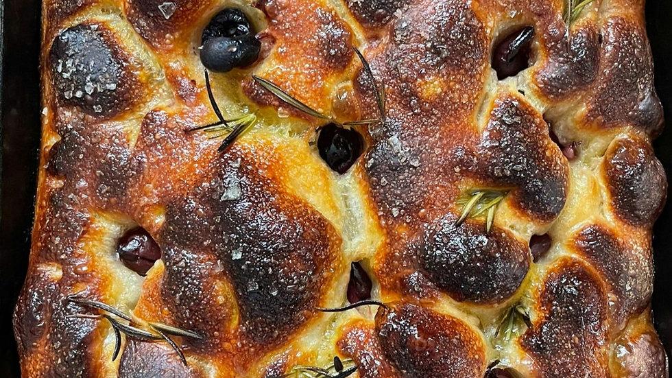 Sourdough Focaccia - Kalamata Olives & Rosemary (500gr)