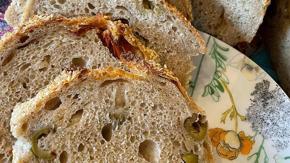 Olive and Sundried Tomato Sourdough Loaf