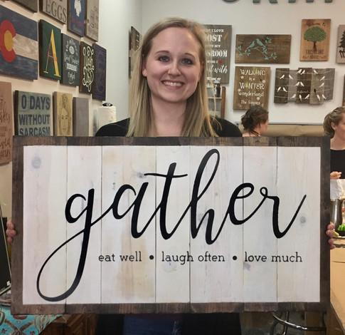 gather, eat, laugh, love