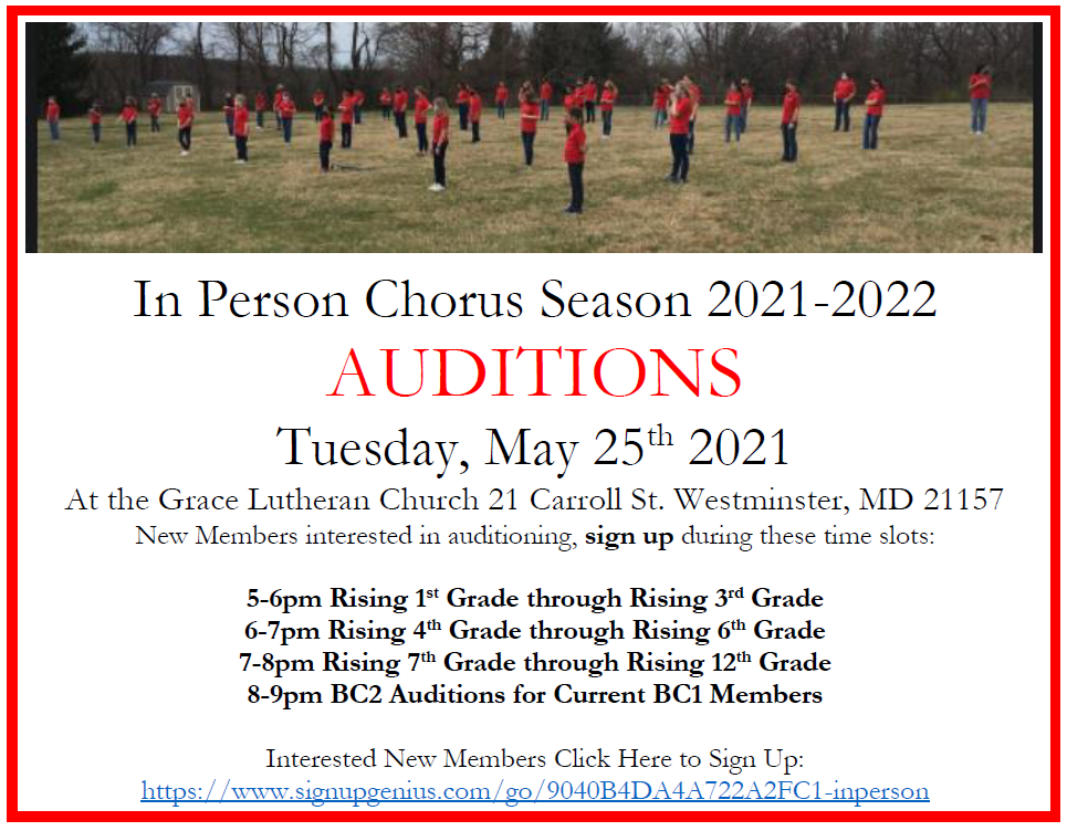 Children's Chorus of Carroll County AUDITIONS