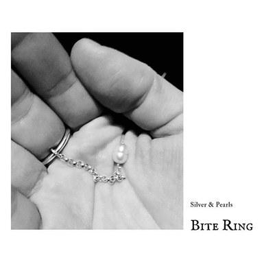 Bite Ring _ ⚫️🖤⬛️ Silver & Pearls __#sh