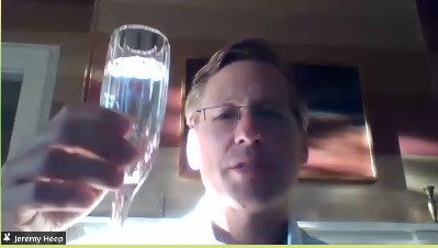 FACC President Jeremy Heep raises his glass to toast to Pascal and French-American business.