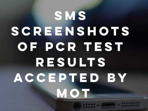 SMS Screenshots of PCR test results accepted by MOT