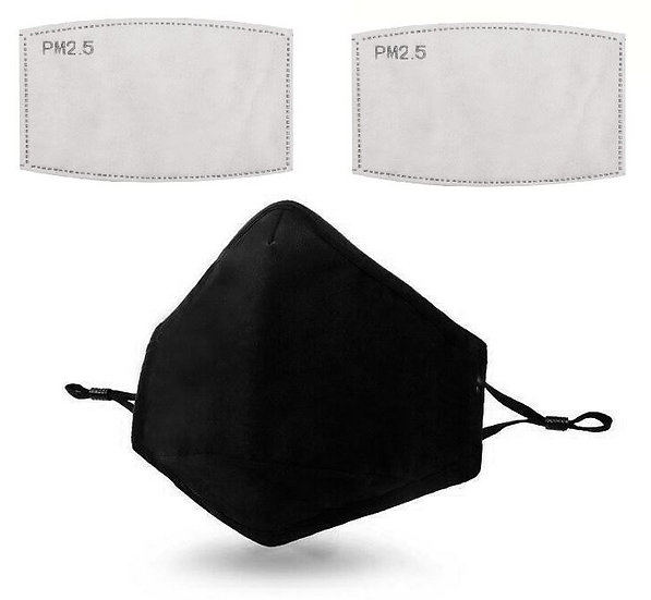 Black Washable Reusable Anti-Pollution Face Mask with 2 Replacement Filters