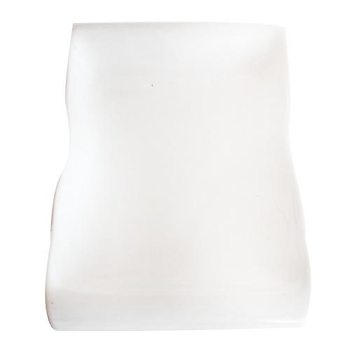 """Fuente loza 9"""" rectangular ondulado blanco"""