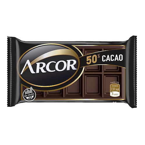 Chocolate Semiamargo Arcor 50% Cacao 25 g