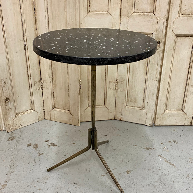 Black Terrazzo and Iron Base Accent Table $295.00