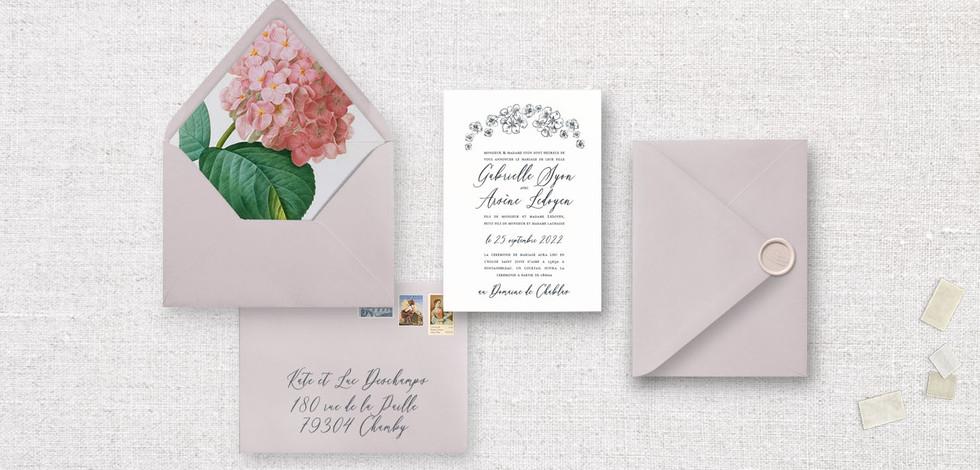 Set 2 pièces : Invitation + enveloppe