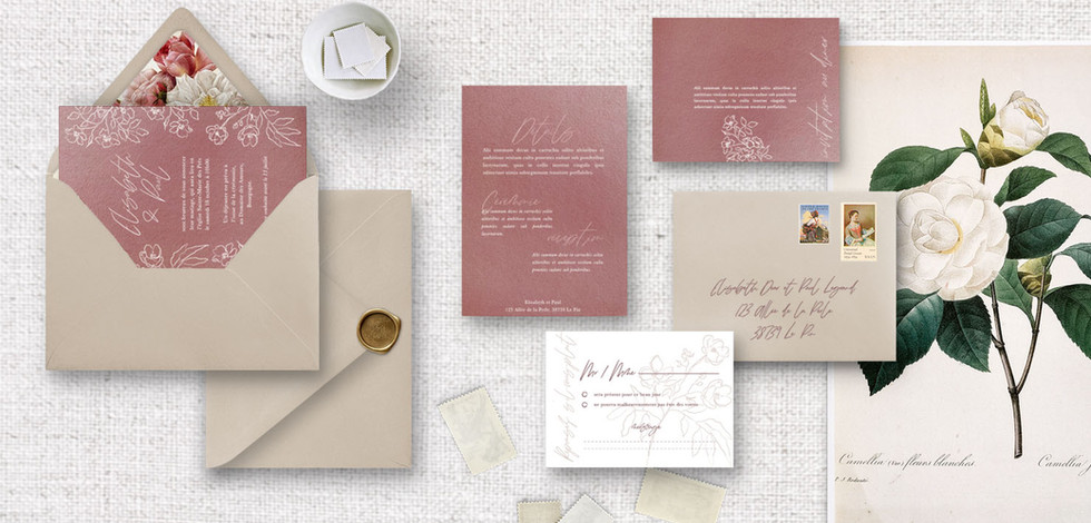 Set 4 : Invitation + RSVP + invitation au diner/brunch + détails + enveloppes assorties